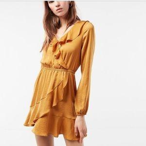 Express Mustard Ruffle Fit & Flare Mini Dress